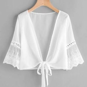Sheer White Top with Lace Bell Sleeves